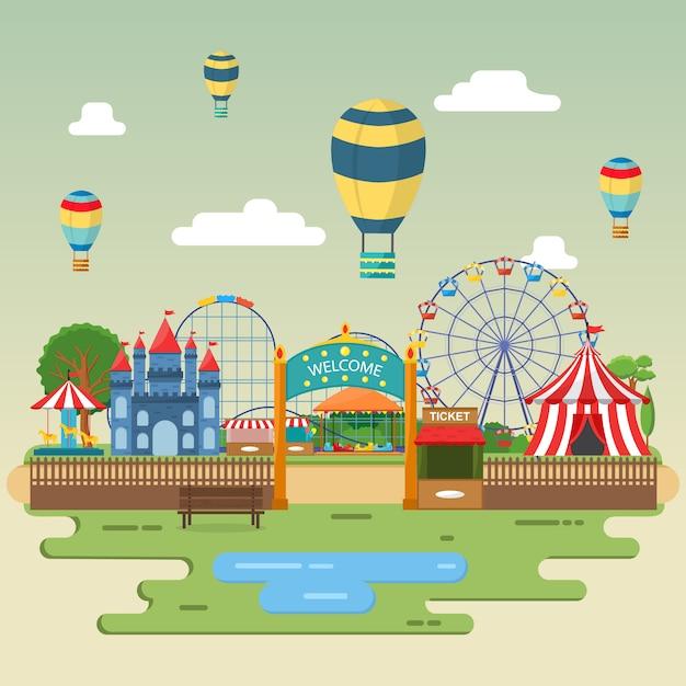 Amusement park circus carnival festival fun fair landscape illustration Premium Vector