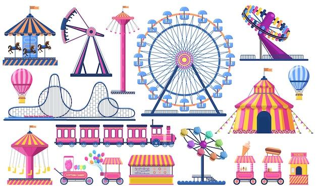 놀이 공원. 서커스 축제 텐트, 롤러 코스터, 기차, 관람차 및 카니발 회전 목마. 프리미엄 벡터