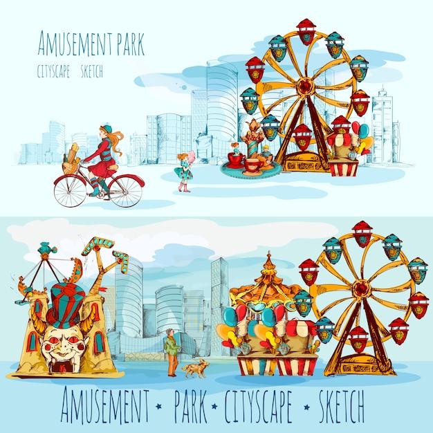 Amusement park cityscape Free Vector