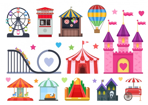 Amusement park colorful objects set with extreme and inflatable attractions circus tent street food isolated vector illusration Free Vector