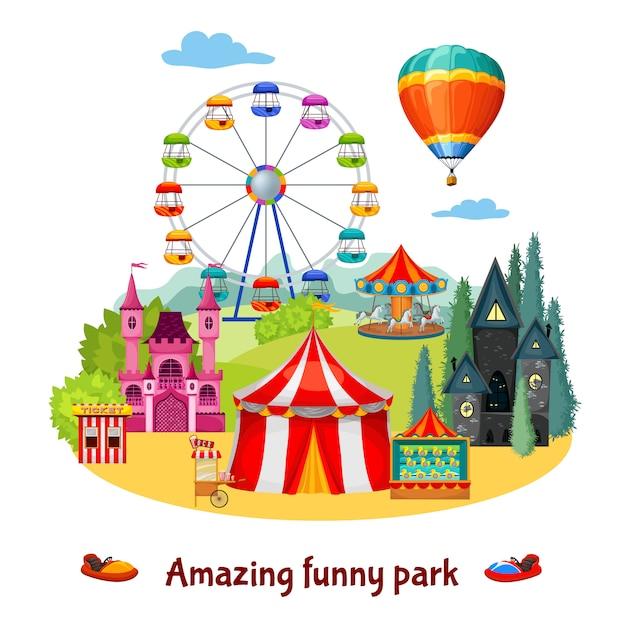 Amusement park composition Free Vector