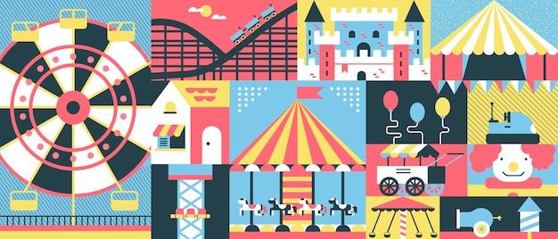 Amusement park concept background Premium Vector
