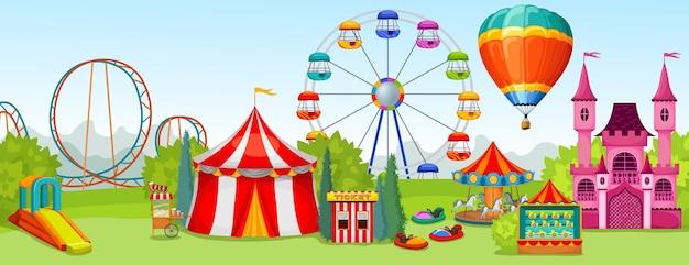 Concetto di parco di divertimenti di attrazioni estreme e di intrattenimento sullo sfondo del paesaggio naturale estivo Vettore gratuito