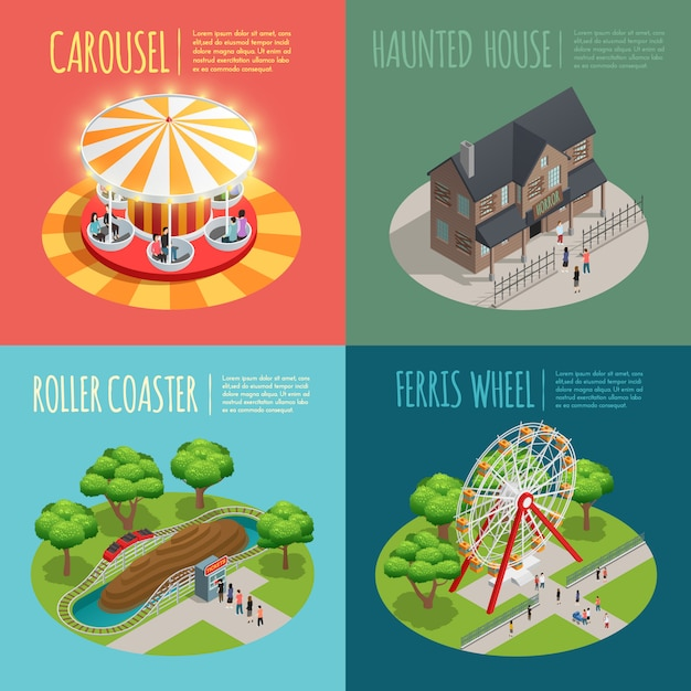 Amusement park concept icons set with haunted house Free Vector