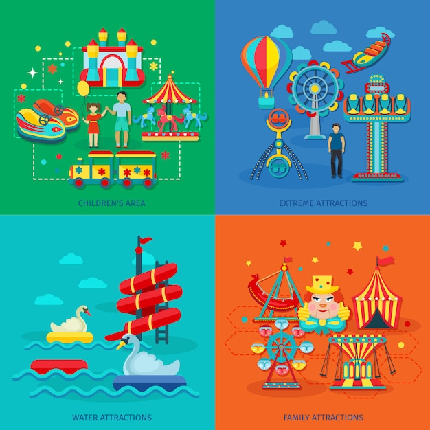 Amusement park concept set with extreme water family attractions flat icons Free Vector