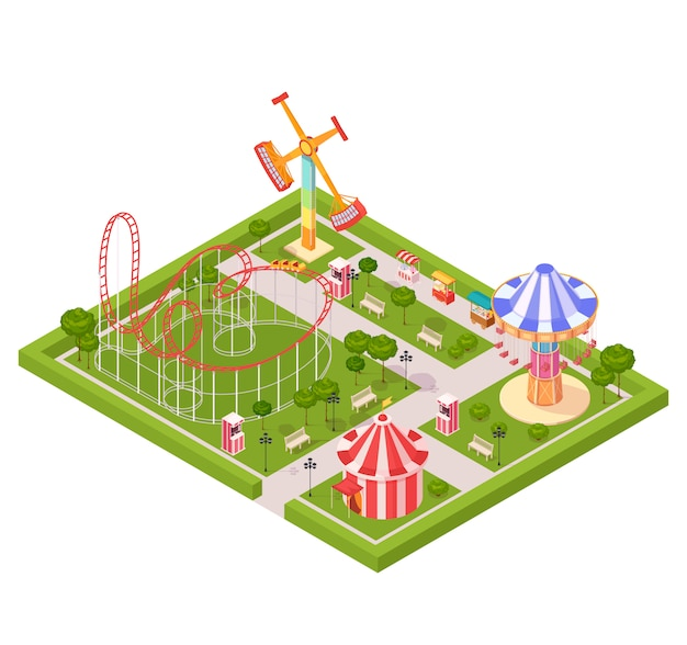 Amusement park design composition with circus tent roller coaster carousel giant swing cartoon isometric icons Free Vector