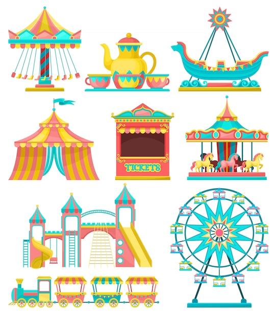 Набор элементов дизайна парка развлечений, карусель, цирк-шапито, колесо обозрения, поезд, билетная касса иллюстрация на белом фоне Premium векторы