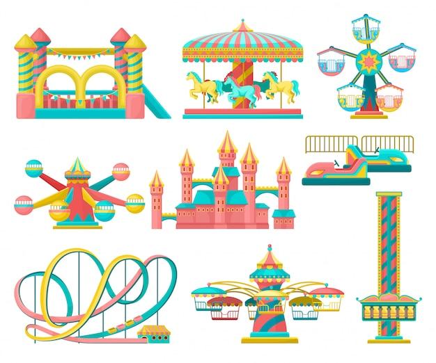 Набор элементов парка развлечений, веселые карусели, батут для инвалидов, башня свободного падения, замок, карусель с лошадьми, американские горки иллюстрация на белом фоне Premium векторы
