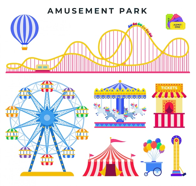 Amusement park flat elements, isolated. everything for family rest in the park Premium Vector