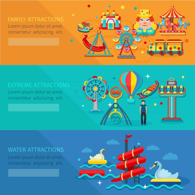Amusement park horizontal banner set with water family extreme attractions Free Vector