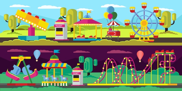 Amusement park horizontal banners Free Vector