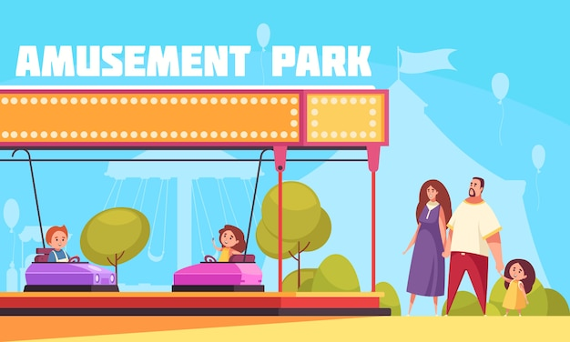 Amusement park horizontal  illustration with mother father and kids cartoon characters coming for family vacation Free Vector