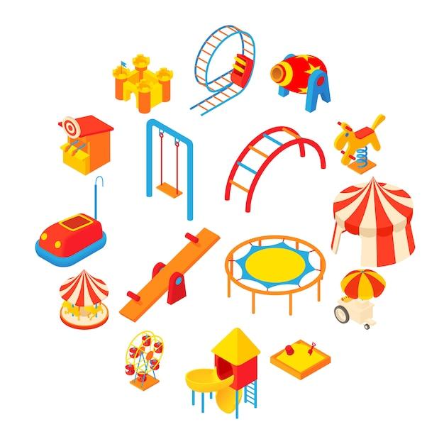 Amusement park icons set, cartoon style Premium Vector