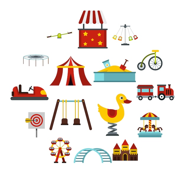 Amusement park icons set, flat style Premium Vector