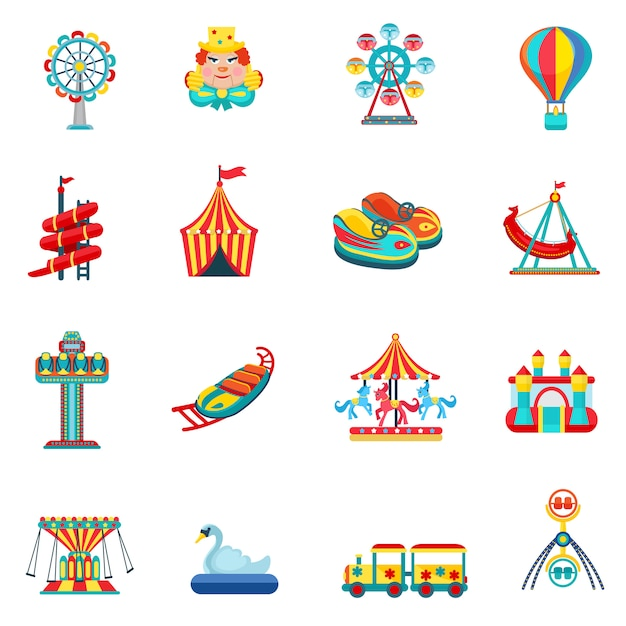 Amusement park icons set Free Vector