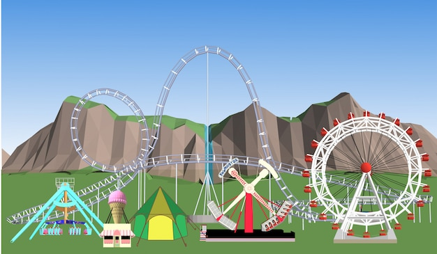 Amusement park illustration Premium Vector