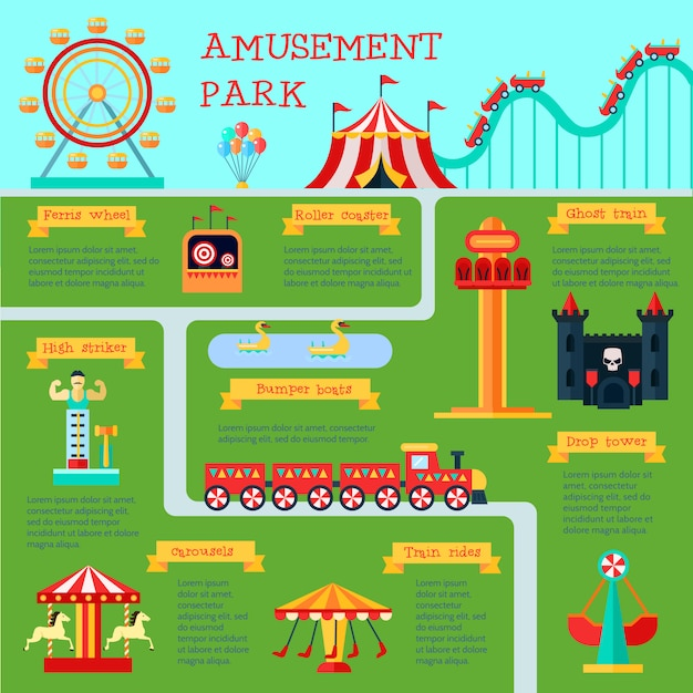 Amusement park infographic set with family fun symbols Free Vector