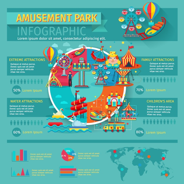Amusement park infographics set with family attractions symbols and charts Free Vector