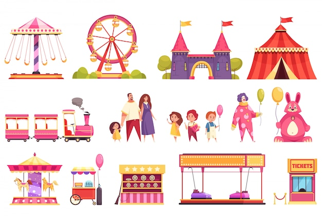 Amusement park isolated icons set of autodrome train carousel medieval castle attractions circus tent and visitors cartoon  illustration Free Vector