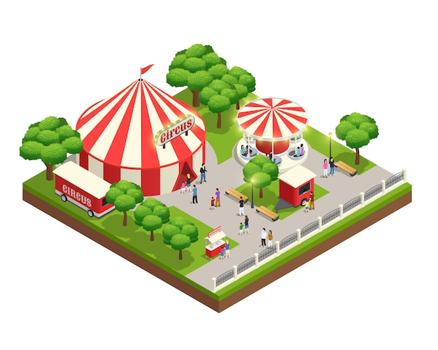 Amusement park isometric composition with carousel circus tent ticket cashier kiosk and people with kids Free Vector
