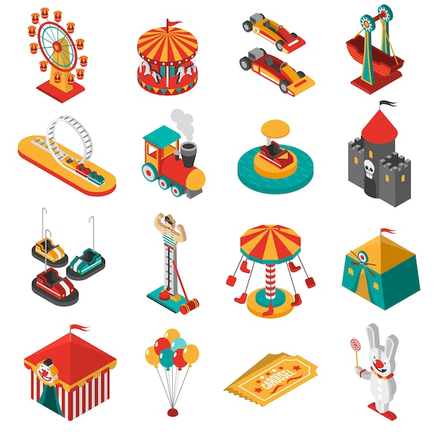 Amusement park isometric icons collection Free Vector