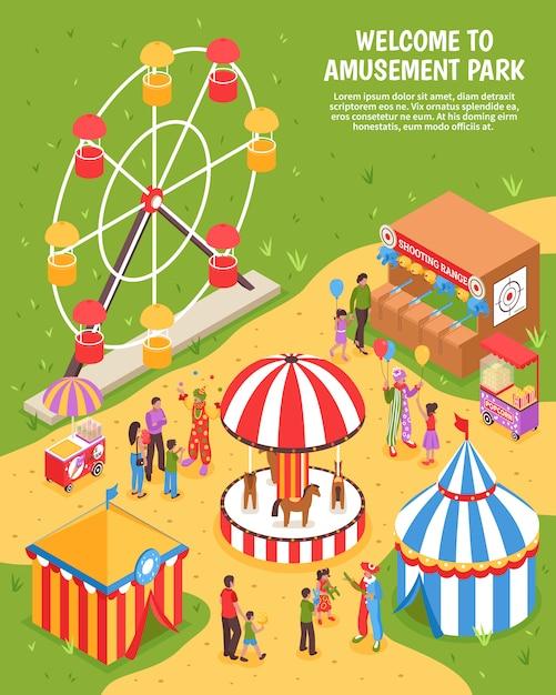 Amusement park isometric illustration Free Vector