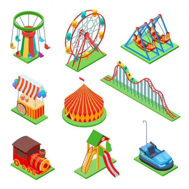 Amusement park isometric rides set Premium Vector