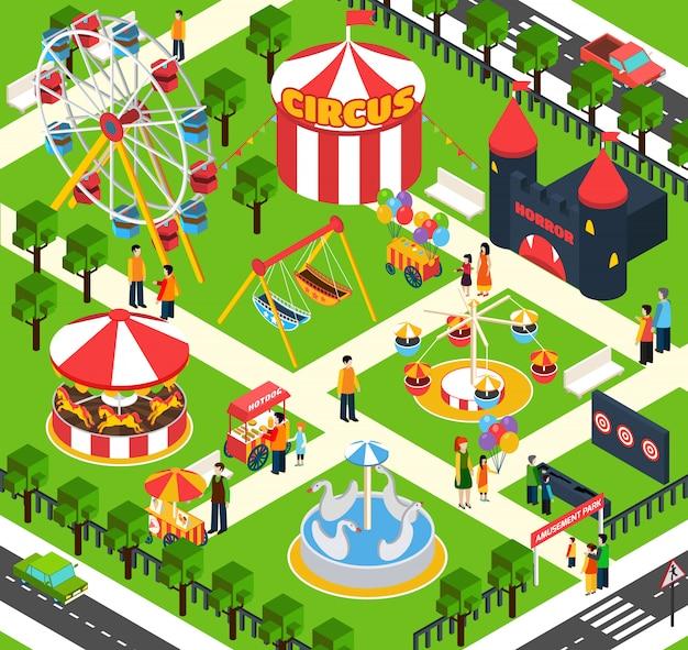 Amusement park isometric Free Vector