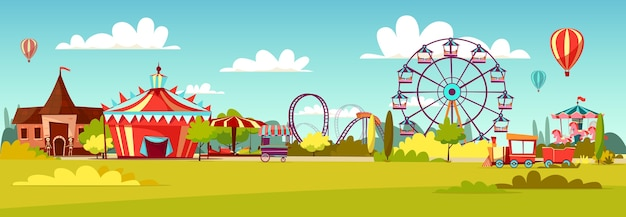 Amusement park of cartoon attraction rides and circus tent. Free Vector