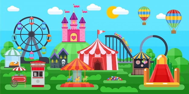 Amusement park panorama with circus tent extreme attractions inflatable slides on summer natural landscape Free Vector