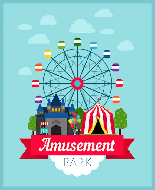 Amusement park poster Premium Vector