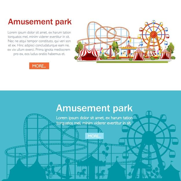 Парк культуры и отдыха. . американские горки, карусель, пиратский корабль и красные палатки. иллюстрация на белом фоне. концепция развлечения. страница веб-сайта и мобильное приложение. Premium векторы