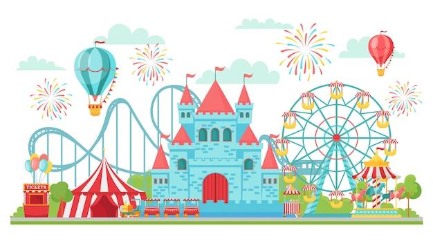 놀이 공원. 롤러 코스터, 축제 회전 목마 및 관람차 명소 격리 된 그림 프리미엄 벡터