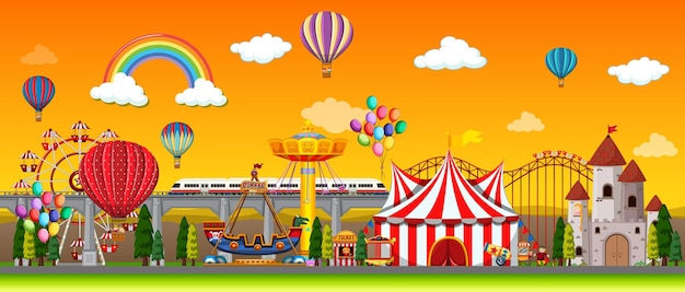 空に風船と虹のある昼間の遊園地のシーン 無料ベクター