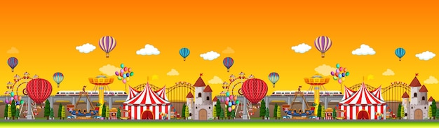 Amusement park scene at daytime with balloons panorama Free Vector
