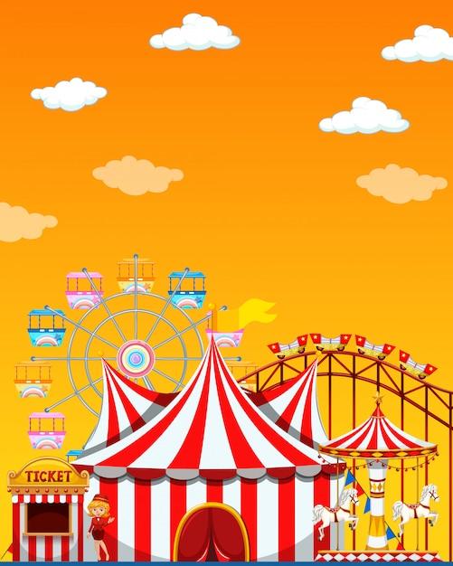 Scena del parco di divertimenti di giorno con il cielo giallo in bianco Vettore gratuito