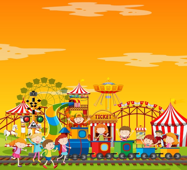 Amusement park scene at daytime with blank yellow sky Free Vector