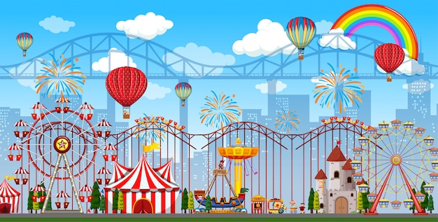 Amusement park scene at daytime with rainbow and balloons in the sky Premium Vector