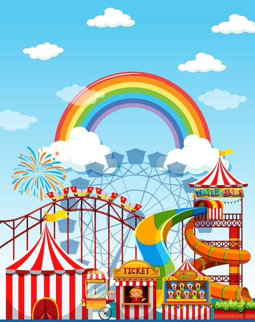 Amusement park scene at daytime with rainbow in the sky Free Vector