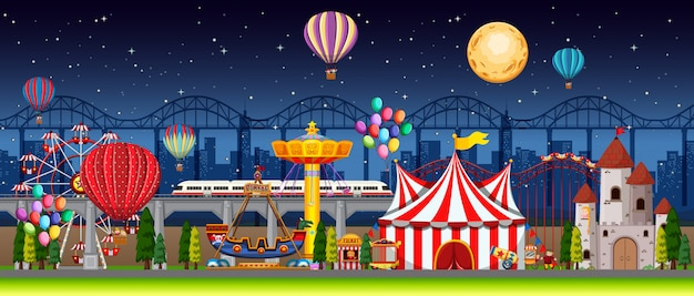 Amusement park scene at night with balloons and moon in the sky Free Vector