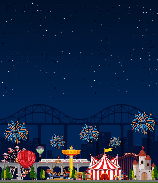 Amusement park scene at night with blank dark blue sky Free Vector