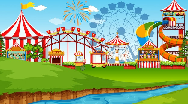 Amusement park scene Free Vector