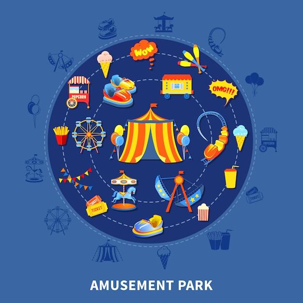 Amusement park set vector illustration Free Vector