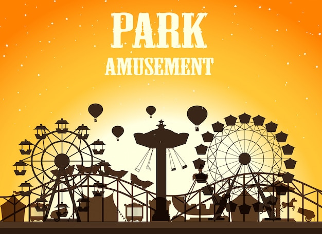 Amusement park silhouette background Free Vector