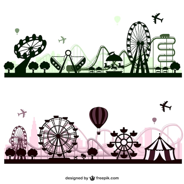 Amusement park skylines Free Vector