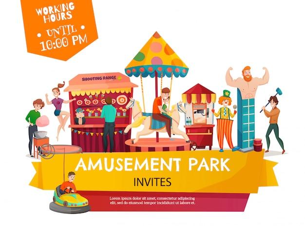 Amusement park template banner Free Vector