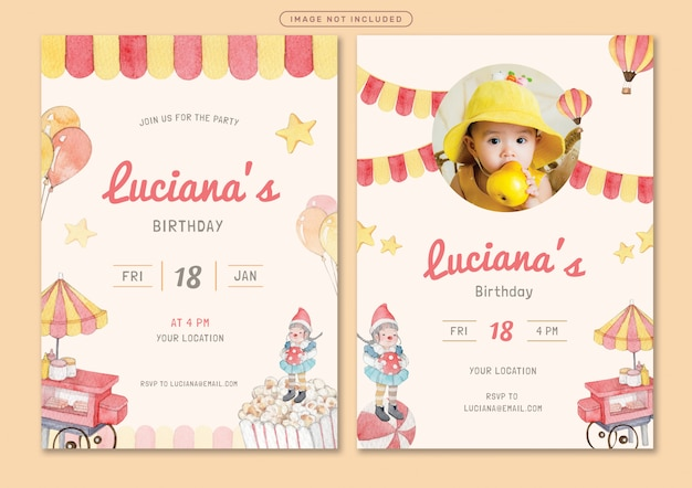 Amusement park theme birthday invitation card template Premium Vector