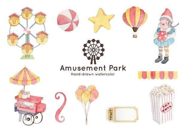 Парк развлечений тема акварель иллюстрации Premium векторы