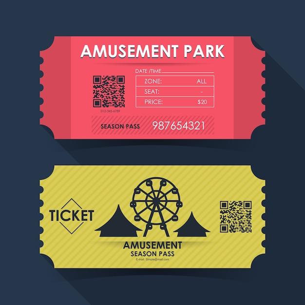 遊園地のチケットカード。グラフィックデザインの要素テンプレート。 Premiumベクター
