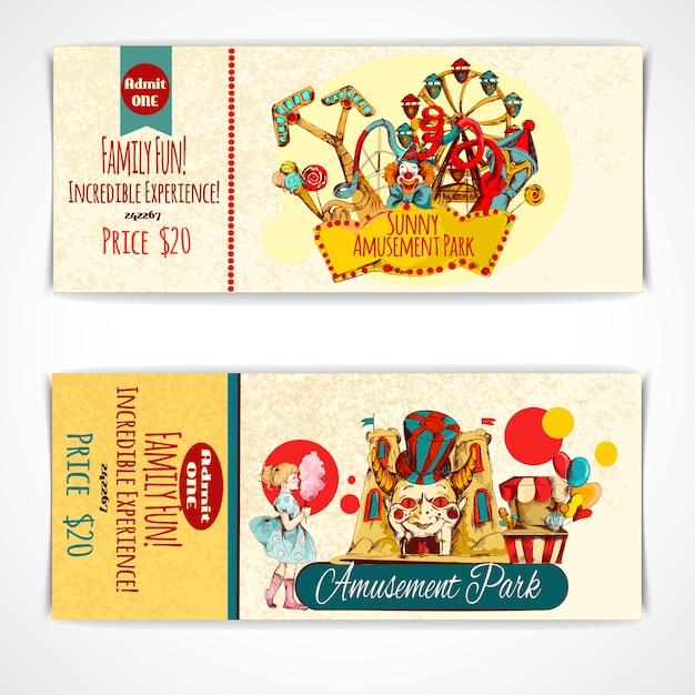 Amusement park tickets Free Vector